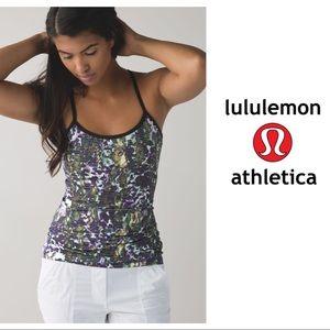 EUC Lululemon Power Y Tank Floral White Green 8